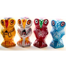 Set of 4 colour owl -  wooden, hand painted