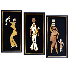 Mother Child, set of 3- Wooden Collage painting