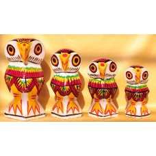 Set of 4 owl -  wooden, hand painted