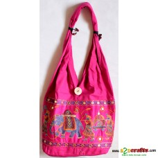 Jhola Bag,Embroidery  - Pink