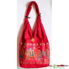 Jhola Bag,Embroidery  - Red
