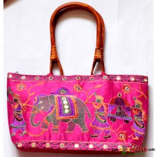 Hand Bag , Embroidery- Pink