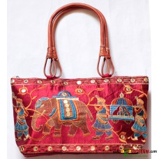 Hand Bag , Embroidery- Maroon