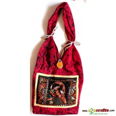 Jhola Bag , Hand stiched-  Red