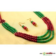 Beads Jewelry- Green and Maroon 3line