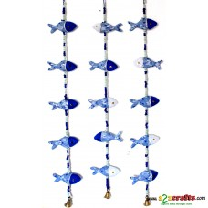 Rajasthani Kopa Dolls, Fish, blue- white