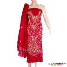 Hand Stitched (Kantha/ Santiniketan)- Cotton  Ladies Dress Material