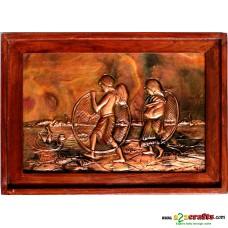 Copper Repousse - Tribal fisherman family