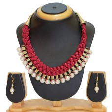 Costume jewelry necklace set, Maroon