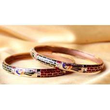 Minakari bangles ,set of 2 - golden