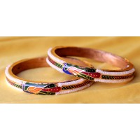 Minakari bangles ,set of 2 - golden