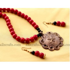 Dokra - Necklace set with red bead