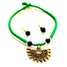Dokra jewelry set with green  tassel,(artificial)