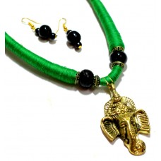 Dokra Jewellery set , Ganesha, green, (artificial)