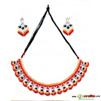 Jute Ornament - 3 piece necklace set with earring