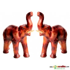 Leather Elephant , set of 2