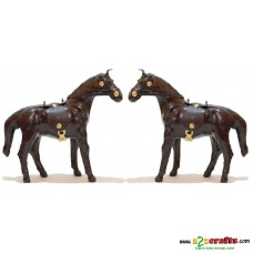 Leather Horse , set of 2