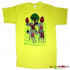 Unique cotton Tees Handpainted Patachitra art - Yellow