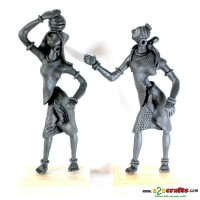 Set of 2 metal statues -- country woman