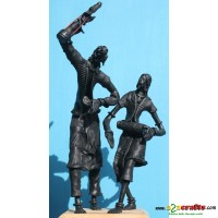 Set of 2 metal statues -- bayul dancers