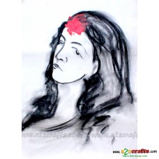 Charcoal Painting- Woman Power of Red