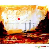 Multi media Sun over pine Knife Painting