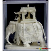 Shola pith craft - elephant chariot small 6""