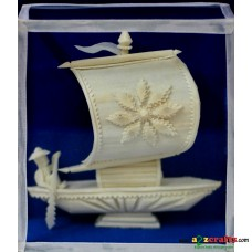 Shola pith craft - Single sail boat 6""