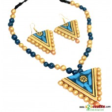 Terracotta Jewellery - bule-golden