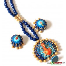 Exclusive Terracotta Jewelry, Peacock, Blue