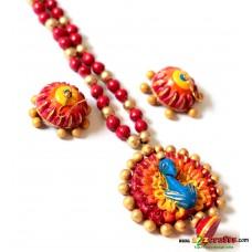 Exclusive Terracotta Jewelry, Peacock,red