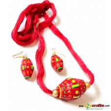 Exclusive Terracotta Jewelry , Dhol, Red