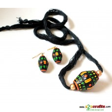 Exclusive Terracotta Jewelry , Dhol, Black