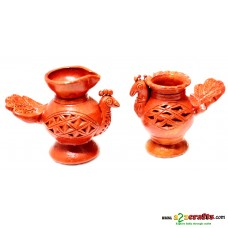 Teracotta  Peacock Diya, set of 2