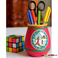 Eco friendly, Warli Painted Terracotta  Pen Stand ,Red, (4inch)