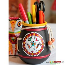 Eco friendly, Warli Painted Terracotta  Pen Stand ,Black, (4inch)