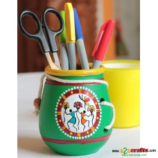 Eco friendly, Warli Painted Terracotta  Pen Stand ,Green, (4inch)