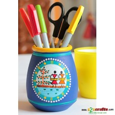 Eco friendly, Warli Painted Terracotta  Pen Stand ,Blue, (4inch)