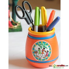 Eco friendly, Warli Painted Terracotta  Pen Stand ,Orange, (4inch)