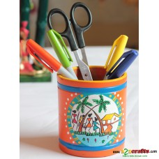 Eco friendly, Warli Painted Terracotta  Pen Stand ,Orange, (4inch)