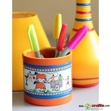 Eco friendly, Warli Painted Terracotta  Pen Stand ,(4inch)