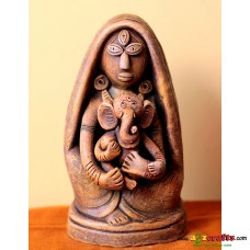 Eco friendly, Terracotta Durga- Ganesh