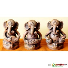 Eco friendly, Terracotta 3 pc. Ganesh set