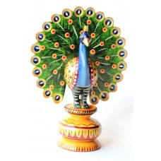 "Peacock color - 5"" wooden, handcrafted"