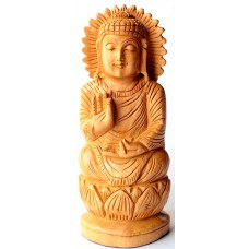 "Buddha -6"" wooden, handcrafted"
