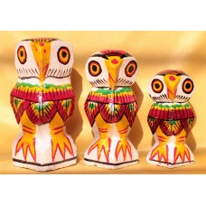 Set of 3 owl (big)-  wooden, hand painted