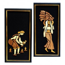 Lady farmers, set of 2- Wooden Collage painting